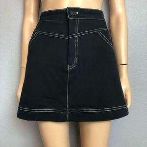 Zara Black Denim A Line Skirt Contrast Stitch